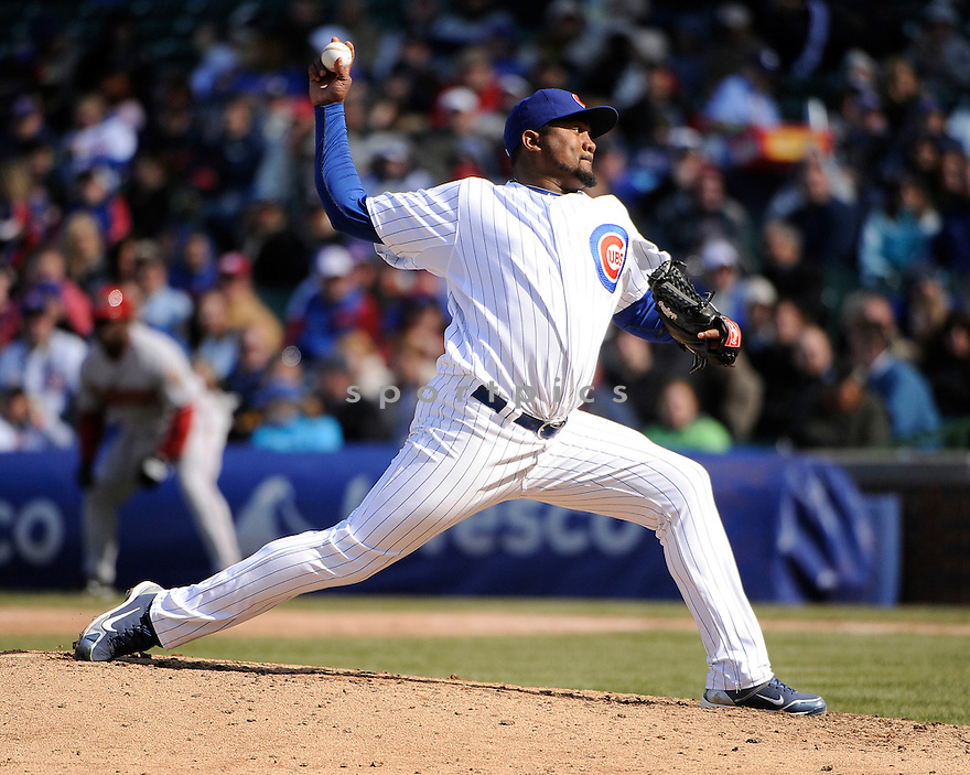 MARCOS MATEO, of the Chicago Cubs , in actions during the Cubs game against the Arizona Diamondbacks at Wrigley FIeld on April 5, 2011.  The Cubs won the game beating the Diamondbacks 6-5.