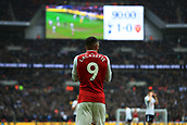 10th February 2018, Wembley Stadium, London England; EPL Premier League football, Tottenham Hotspur versus Arsenal; A dejected Alexandre Lacazette of Arsenal as he watches the replay on the big screen