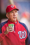 20 September 2013: Washington Nationals Manager Davey Johnson looks out from the dugout prior to a game against the Miami Marlins at Nationals Park in Washington, DC. The Nationals shut out the Marlins 8-0 to take the second game of their 4-game series. Mandatory Credit: Ed Wolfstein Photo *** RAW (NEF) Image File Available ***