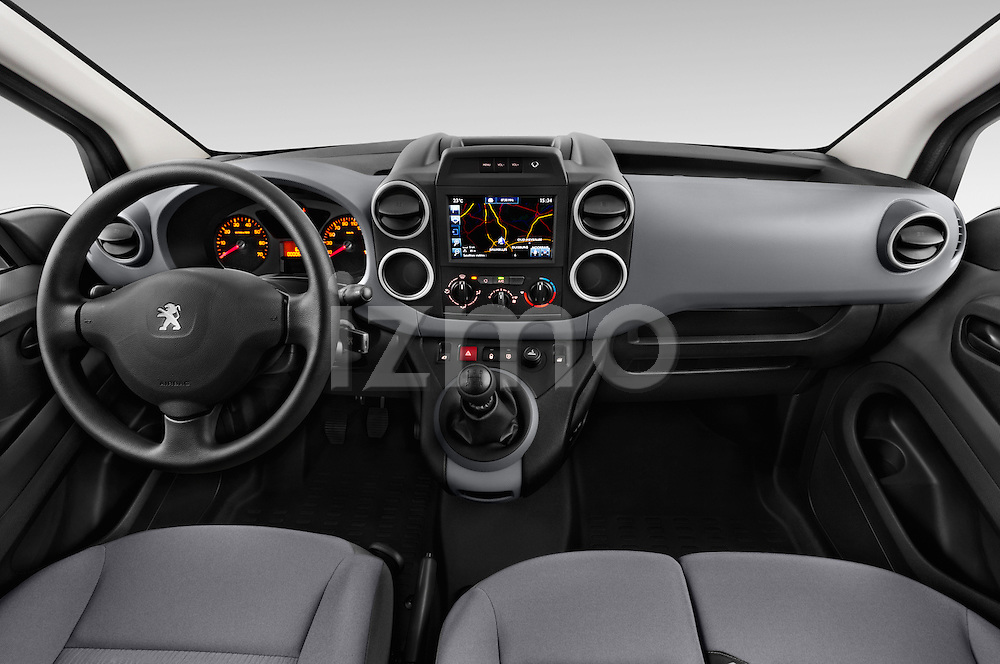 Stock photo of straight dashboard view of 2015 Peugeot Partner - 4 Door Car Van Dashboard