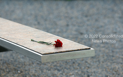 A carnation is placed on the one of the 184 memorial benchs to remember Kris Romeo Bishundat, a victim at the 9/11 Pentagon attack, prior to an event to mark the anniversary of the 9/11 terrorist attacks at the Pentagon Memorial, Saturday, September 11, 2010 in Arlington, Virginia. United States President Obama will deliver remark and lay a wreath during the event on the ninth anniversary of the attack. .Credit: Alex Wong - Pool via CNP