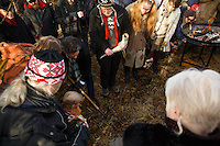 Dagur B. Eggertsson (left) mayor of Reykjavik and Hilmar Örn Hilmarsson (center) high priest (or gothi) turn the first sod of the first official temple build to the norse gods in over 1000 years.