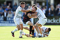 Nick Tompkins of Saracens takes on the Bedford Blues defence. Pre-season friendly match, between Bedford Blues and Saracens on August 19, 2017 at Goldington Road in Bedford, England. Photo by: Patrick Khachfe / Onside Images