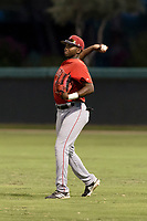AZL Angels right fielder Trent Deveaux (17) throws to the infield during an Arizona League game against the AZL Dodgers at Camelback Ranch on July 8, 2018 in Glendale, Arizona. The AZL Dodgers defeated the AZL Angels by a score of 5-3. (Zachary Lucy/Four Seam Images)