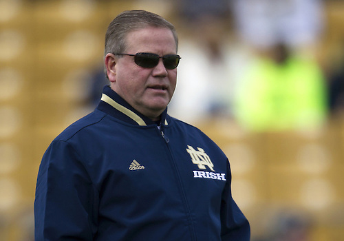 April 20, 2013:  Notre Dame Fighting Irish head coach Brian Kelly prior to the Notre Dame Blue-Gold Spring game at Notre Dame Stadium in South Bend, Indiana.  The Defense topped the Offense by a score of 54-43.