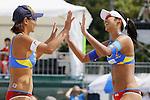 (L to R) Shinako Tanaka, Sayaka Mizoe, MAY 6, 2012 - Beach Volleyball : JBV Tour 2012 Sports Club NAS Open  Women's final at Odaiba Beach, Tokyo, Japan. (Photo by Yusuke Nakanishi/AFLO SPORT) [1090]