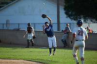 Martinsville Mustangs first baseman Steven D'Eusanio (16) (Youngstown State) catches a fly ball in foul territory during the game against the High Point-Thomasville HiToms at Finch Field on July 26, 2020 in Thomasville, NC.  The HiToms defeated the Mustangs 8-5. (Brian Westerholt/Four Seam Images)