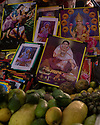 India - Manipur - Imphal - Images of local and India goddesses are sold at a stall inside the Ima Market.