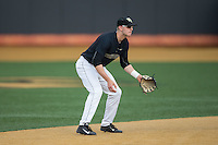 Wake Forest Demon Deacons shortstop Johnny Aiello (2) on defense against the Clemson Tigers at David F. Couch Ballpark on March 12, 2016 in Winston-Salem, North Carolina.  The Tigers defeated the Demon Deacons 6-5.  (Brian Westerholt/Four Seam Images)