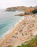CROATIA, Dubrovnik, Dalmatian Coast, high angle view of people at East West Beach in Dubrovnik.