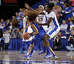 UK guard Bria Goss and center DeNesha Stallworth guard DePaul guard Brittany Hrynko during the second half of the women's basketball game v. Depaul University in Rupp Arena in Lexington, Ky., on Sunday, December 7, 2012. Photo by Genevieve Adams | Staff