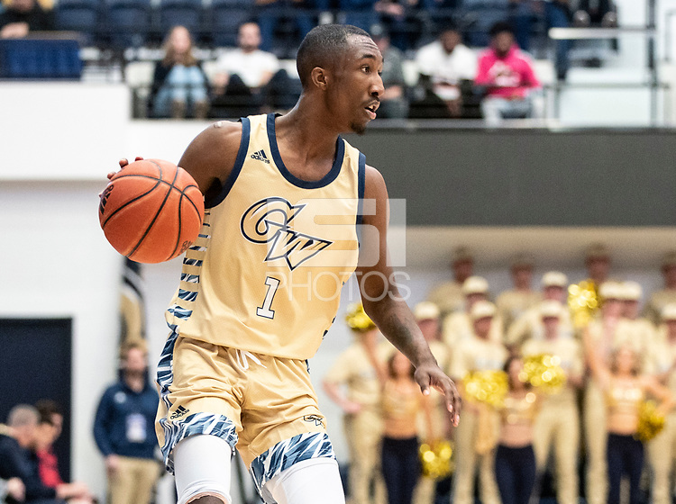 WASHINGTON, DC - FEBRUARY 8: Shawn Walker Jr. #1 of George Washington on the attack during a game between Rhode Island and George Washington at Charles E Smith Center on February 8, 2020 in Washington, DC.