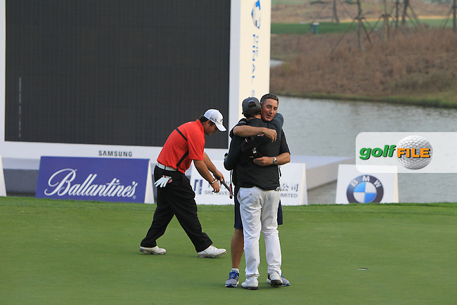 Kristoffer Broberg (SWE) puts to win the BMW Masters at Lake Malaren Golf Club in Boshan, Shanghai, China on Sunday 15/11/15.<br /> Picture: Golffile | Thos Caffrey<br /> <br /> All photo usage must carry mandatory copyright credit (&copy; Golffile | Thos Caffrey)