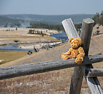 A teddy bear sits on a post in front of Yellowstone landscape