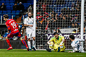 10th January 2018, Santiago Bernabeu, Madrid, Spain; Copa del Rey football, round of 16, 2nd leg, Real Madrid versus Numancia; Guillermo Fernandez (Numancia) turns and celebrates his goal which made it 1-1