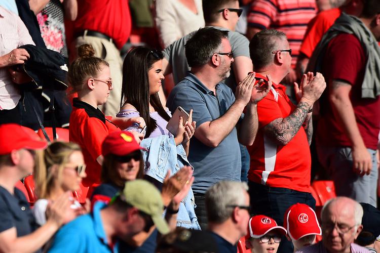 Fleetwood Town fans applaud<br /> <br /> Photographer Richard Martin-Roberts/CameraSport<br /> <br /> The EFL Sky Bet League One - Fleetwood Town v Peterborough United - Friday 19th April 2019 - Highbury Stadium - Fleetwood<br /> <br /> World Copyright © 2019 CameraSport. All rights reserved. 43 Linden Ave. Countesthorpe. Leicester. England. LE8 5PG - Tel: +44 (0) 116 277 4147 - admin@camerasport.com - www.camerasport.com