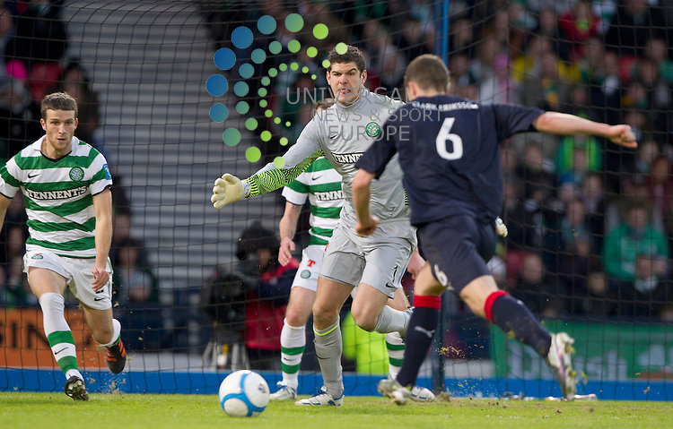 Stewart murdoch shoots at celtic Keeper Fraser Forster during the Scottish Communities League cup semi - final Falkirk FC v Celtic F.C, at Hampden park..Picture: Maurice McDonald/Universal News And Sport (Scotland). 29 January 2012. www.unpixs.com.