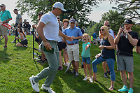 Jason Day (AUS) high fives young fans on his way to 13 during 1st round of the World Golf Championships - Bridgestone Invitational, at the Firestone Country Club, Akron, Ohio. 8/2/2018.<br /> Picture: Golffile | Ken Murray<br /> <br /> <br /> All photo usage must carry mandatory copyright credit (&copy; Golffile | Ken Murray)