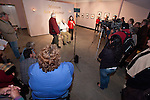 Al Weber and Colleen Bailey, Curator, speak about the third Mission Portfolio Exhibition during the opening of the Mission San Antonio de Padua Portfolio Workshop exhibition at the National Steinbeck Center Museum, Salinas, Calif.