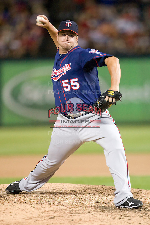 Minnesota Twins pitcher Matt Capps #55 delivers during a Major League Baseball game against the Texas Rangers at the Rangers Ballpark in Arlington, Texas on July 27, 2011. Minnesota defeated Texas 7-2.  (Andrew Woolley/Four Seam Images)