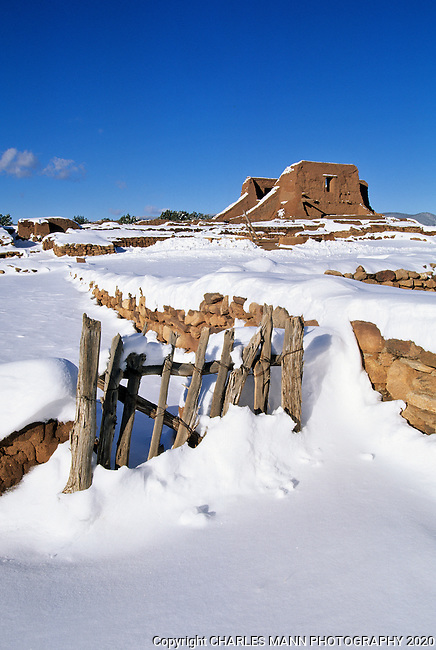 Snow covers the ruins of Pecos National Monument near the village of Pecos