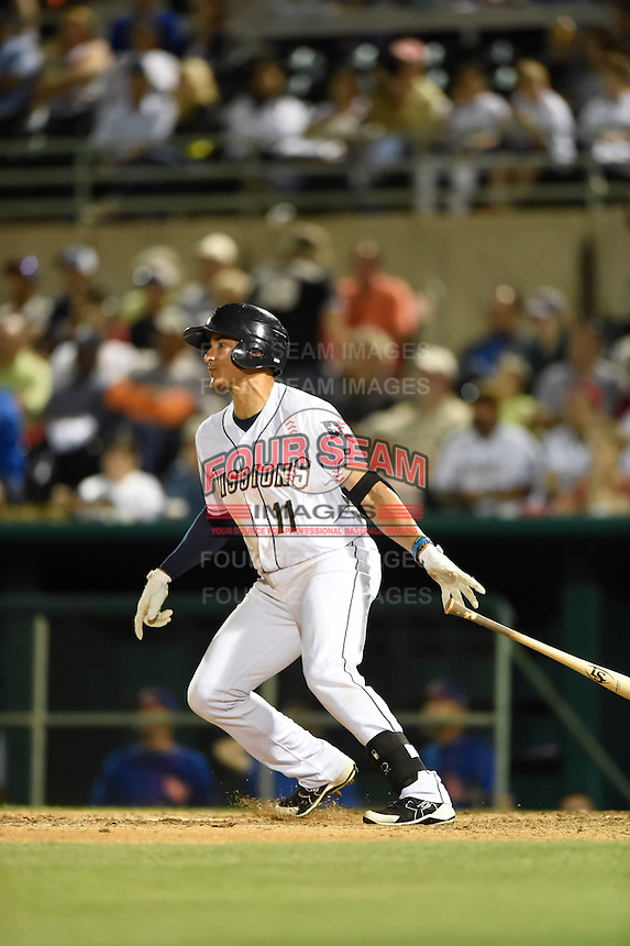 ***Temporary Unedited Reference File***San Antonio Missions left fielder Nick Torres (11) during a game against the Midland RockHounds on April 22, 2016 at Nelson W. Wolff Municipal Stadium in San Antonio, Texas.  San Antonio defeated Midland 8-4.  (Mike Janes/Four Seam Images)