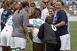 12 September 2009: North Carolina's Courtney Jones (84) is given a push by Monica Welsh-Loveman (0) during player introductions. The University of North Carolina Tar Heels defeated the Texas A&M University Aggies 2-0 at Fetzer Field in Chapel Hill, North Carolina in an NCAA Division I Women's college soccer game.