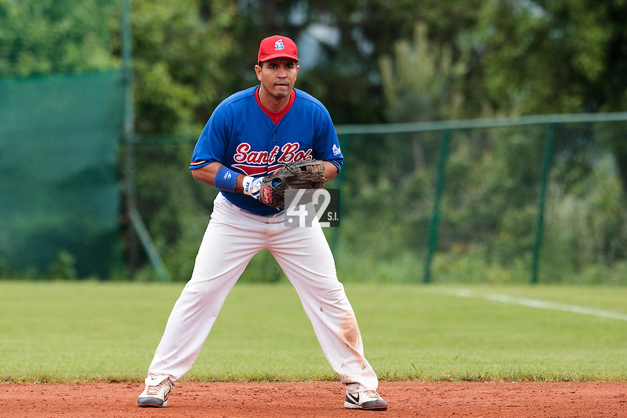 03 June 2010: Jose Luis Riera of C.B. Sant Boi is seen during the 2010 Baseball European Cup match won  8-4 by C.B. Sant Boi over the Rouen Huskies, at the Kravi Hora ballpark, in Brno, Czech Republic.