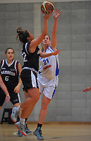 Action from the 2015 Women's Basketball Championship match between the Nelson Sparks (white tops) and Harbour Breeze (black tops) at Te Rauparaha Arena, Porirua, Wellington, New Zealand on Thursday, 4 June 2015. Photo: Dave Lintott / lintottphoto.co.nz