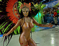 A dancer of the Sao Clemente samba school performs at Sambadrome, Rio de Janeiro, Brazil , Feb. 03, 2008.