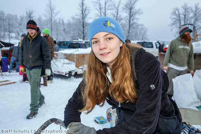 Musher Kali Herbst at Knik during the start of the Junior Iditarod on Saturday February 25, 2017. <br /> <br /> <br /> Photo by Jeff Schultz/SchultzPhoto.com  (C) 2017  ALL RIGHTS RESVERVED