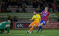 Sam Wood of Wycombe Wanderers & Joe Worrall of Dagenham & Redbridge chase down the ball during the Sky Bet League 2 match between Dagenham and Redbridge and Wycombe Wanderers at the London Borough of Barking and Dagenham Stadium, London, England on 9 February 2016. Photo by Andy Rowland.