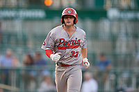 Peoria Chiefs Brendan Donovan (33) rounds the bases after hitting a home run during a Midwest League game against the Fort Wayne TinCaps on July 17, 2019 at Parkview Field in Fort Wayne, Indiana.  Fort Wayne defeated Peoria 6-2.  (Mike Janes/Four Seam Images)