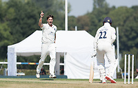 Tim Murtagh of Middlesex CCC has Ian Holland  of Hampshire caught at slip during Middlesex CCC vs Hampshire CCC, Bob Willis Trophy Cricket at Radlett Cricket Club on 11th August 2020