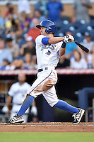 Durham Bulls second baseman Jayson Nix  #16 swings at a pitch during a game against the Toledo Mud Hens at Durham Bulls Athletic Park on July 25, 2014 in Durham, North Carolina. The Mud Hens defeated the Bulls 5-3. (Tony Farlow/Four Seam Images)