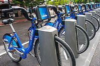 New York, NY 24 May 2013 - CitiBike Bike Share rolls out on a rainy Friday morning before Memorial Day weekend.