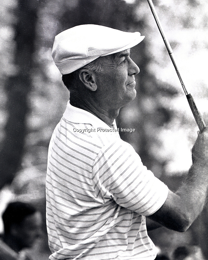 Golfer Ben Hogan watching his shot during the U.S.Open Golf tournament at the Olympic Club in San Francisco 1966. (copyright 1966 Ron Riesterer)