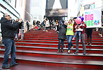 Laura Heywood, aka @BroadwayGirlNYC, with fellow huggers attend Big Hug Day: Broadway comes together to spread kindness and raise funds for Children's Hospitals on January 21, 2018 at Duffy Square, Times Square in New York City.
