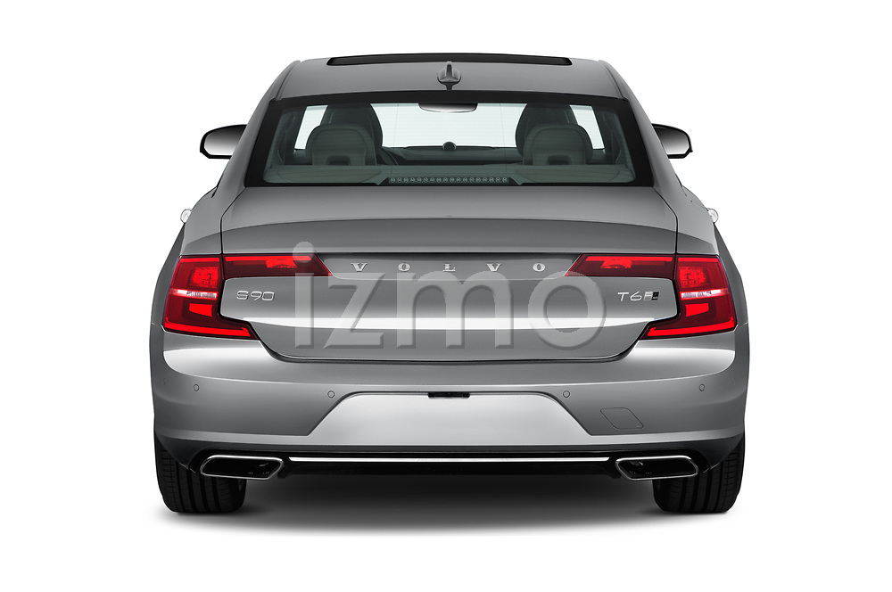 Straight rear view of a 2018 Volvo S90 T6 Inscription 4 Door Sedan stock images