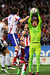 Atletico de Madrid´s Diego Godin and Valencia CF´s goalkeeper Diego Alves during 2014-15 La Liga match between Atletico de Madrid and Valencia CF at Vicente Calderon stadium in Madrid, Spain. March 08, 2015. (ALTERPHOTOS/Luis Fernandez)
