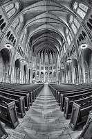 A view of the beautiful nave and chancel inside The Riverside Church, the tallest church in the USA.  The Neo-Gothic church is located in Morningside Heights on the west side of Manhattan in New York City.