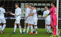 Pictured: Adam King of Swansea (10) celebrates one of his hat trick goals with team mates Tuesday 28 February 2017<br /> Re: Premier League International Cup, Swansea City U23 v Hertha Berlin II at at the Liberty Stadium, Swansea, UK