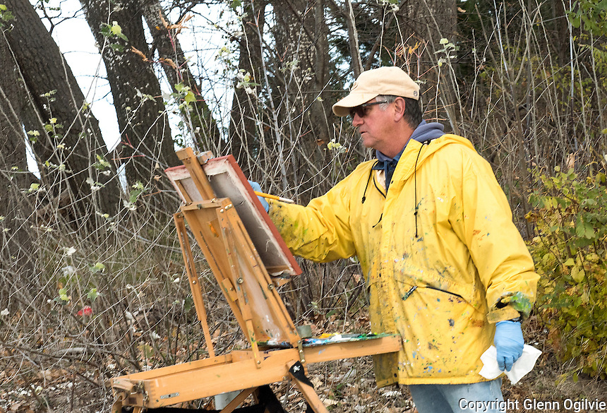 Plain air painting isn't for everyone, but Sarnia's Bill Walters thrives on it. So far this year he has completed 87 paintings and is striving to create another 13 before the calendar turns a new year. Walters has been painting since his college days 46 years back. He is painting the changing clouds and waves  of lake Huron at Canatara Park. His work is permanently featured at Cheeky Monkey.