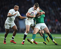 Owen Farrell, FEBRUARY 27, 2016 - Rugby : Owen Farrell of England is tackled by Stuart McCloskey of Ireland during the RBS 6 Nations match between England and Ireland at Twickenham Stadium, London, United Kingdom. (Photo by Rob Munro)