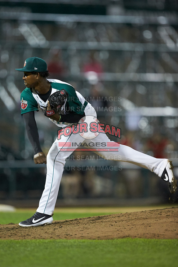 Fort Wayne TinCaps relief pitcher Henry Henry (17) follows through on his delivery against the Bowling Green Hot Rods at Parkview Field on August 20, 2019 in Fort Wayne, Indiana. The Hot Rods defeated the TinCaps 6-5. (Brian Westerholt/Four Seam Images)