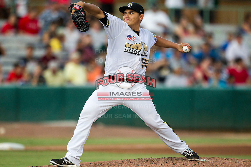San Antonio Missions pitcher Juan Oramas (55) delivers a pitch to the plate in the Texas League baseball game against the Frisco Roughriders on August 22, 2013 at the Nelson Wolff Stadium in San Antonio, Texas. Frisco defeated San Antonio 2-1. (Andrew Woolley/Four Seam Images)