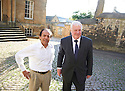 Vikram Seth Indian novelist and writer  with Chris Patten  at The Oxford Literary Festival at Christchurch College Oxford  . Credit Geraint Lewis