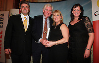 Repro Free.from left to right: Eoghan Corry from Travel Extra, Michael Ryan RTE Nationwide, Winner of Broadcasting, Journalist of the Year Sponsored Insight Vacations, Mary Fanning Producer and Sharon Jordan Insight Vacations .Travel Extra,Travel Journalist of the Year Awards at the Thomas Prior House Ballsbridge. The event which was sponsored by The Spanish Tourist board gave out 12 awards for different catagories. .This year saw a huge increase in the number of submissions from previous years, displaying the creativity and continuning innovation of travel and tourism journalism in Ireland..Collins Photos 25/1/13
