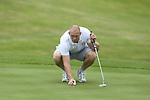 Mike Tindall lines up a putt on the 5th hole during the practice round.<br /> Celebrity Cup Golf<br /> Celtic Manor Resort<br /> 04.07.14<br /> &copy;Steve Pope-SPORTINGWALES