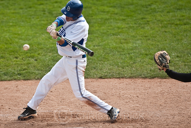 Photo by Chris Detrick | The Salt Lake Tribune .Bingham's Josh Sandquist (15) hits a two-run RBI during the game 5A at Brent Brown Ballpark Thursday May 26, 2011. Bingham won the game 7-0.